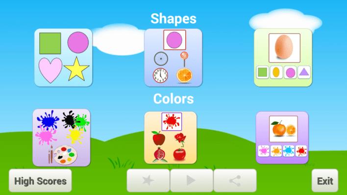 تطبيق Colors and Shapes أحد ألعاب تعليمية