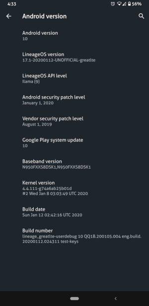نظام اندرويد 10 لهاتف Galaxy S8
