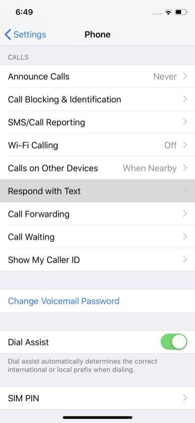 إعدادات المكالمات في الايفون