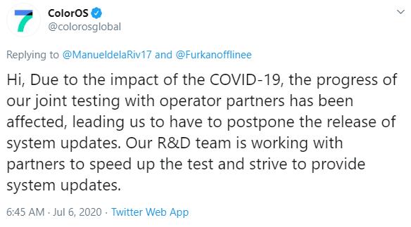ColorOS 7 Update Covid 19