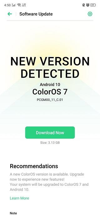 تحديث ColorOS 7 أوبو K3
