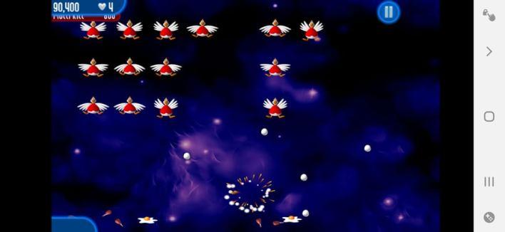 اصطدام المركبة بالبيض في لعبة Chicken Invaders 2