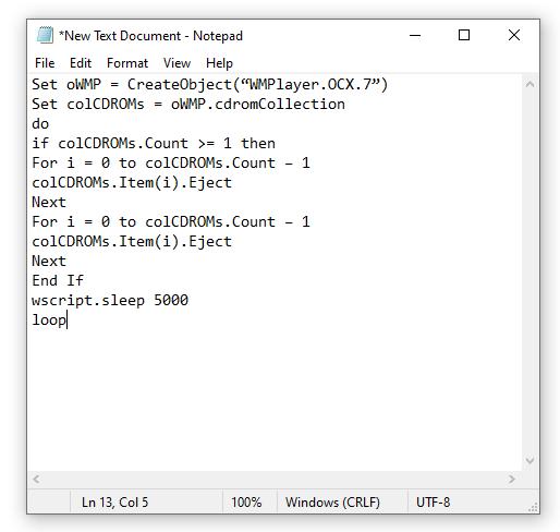 عمل فيروس يقوم بإدخال واخراج DVD ROM