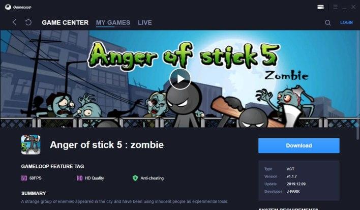 تحميل وتثبيت لعبة anger of stick 5 zombie