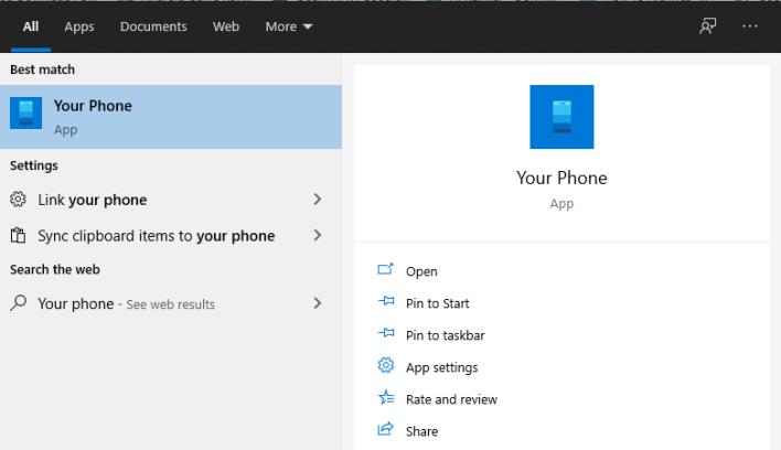 برنامج Your Phone على الويندوز