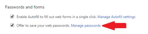 الضغط على Manage Passwords