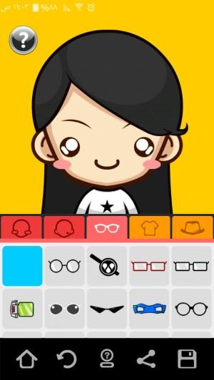 وضع النظارة في تطبيق سوبر مي أحد تطبيقات إنشاء الصورة الرمزية