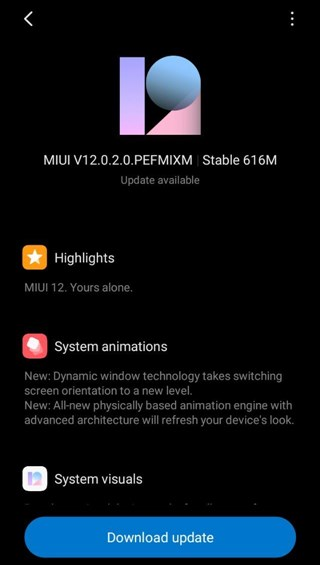 MIUI 12 Redmi S2 update