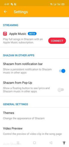 اعدادات برنامج shazam