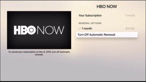 إلغاء الاشتراك التلقائي في قناة HBO NOW في جهاز Apple TV
