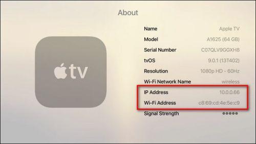 معرفة IP Address وWifi Address في جهاز أبل تي في