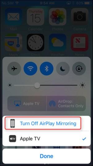 وقف الاتصال بالضغط على Turn Off AirPlay Mirroring