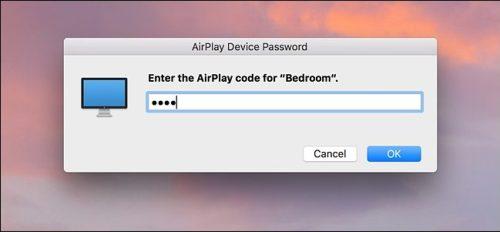 إدخال الكود الذي ظهر في شاشة الابل تي في لعرض محتوى الماك على Apple TV