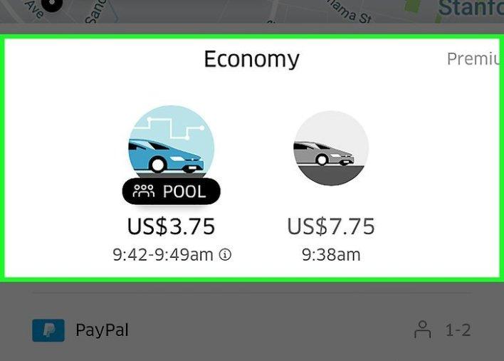 اختيار نوع السيارة في تطبيق uber