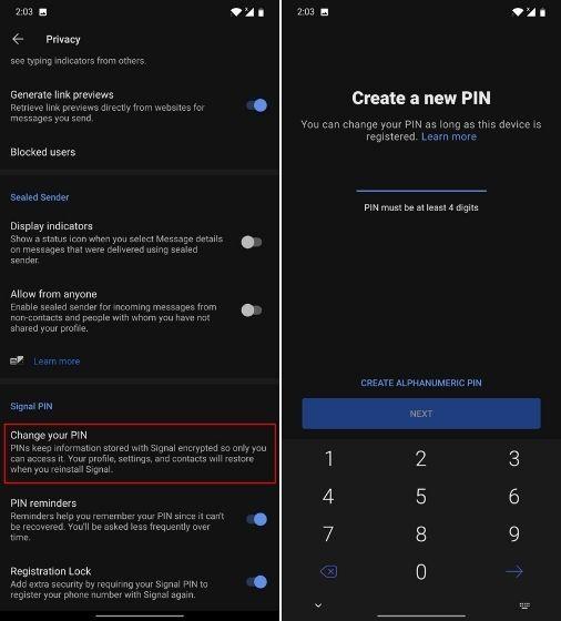 إنشاء رمز PIN جديد في حالة نسيان الكود القديم