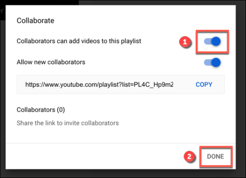 تفعيل Collaborators Can Add Videos To This Playlist