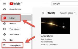 الضغط على Library لرؤية القائمة الجديدة في Youtube