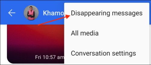 الضغط على Disappearing Messages