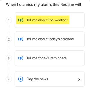 الضغط على Tell Me About the Weather لسماع توقعات الطقس باستخدام المنبه