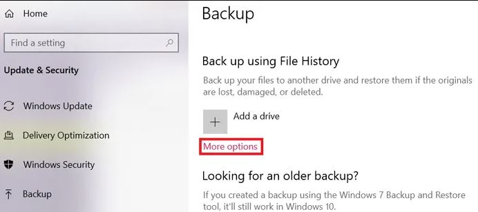 طريقة حذف ملفات النسخ الاحتياطي في windows 10