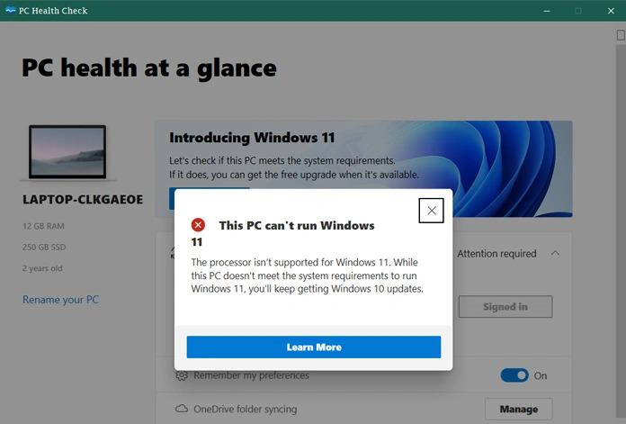 فحص متطلبات Windows 11