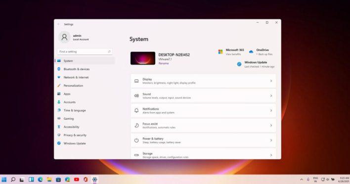 New Settings app for Windows 11