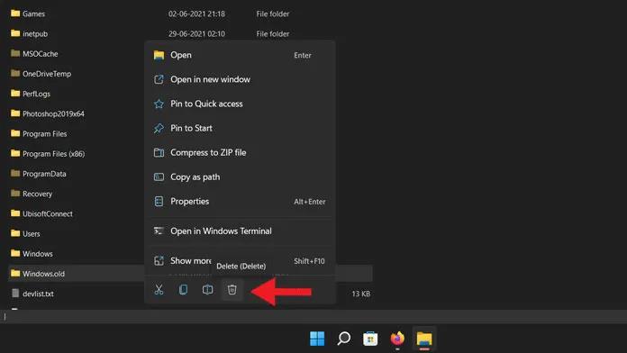 حذف Windows.old في Windows 11