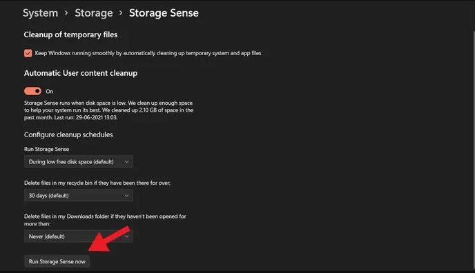 حذف ملفات الويندوز القديم بخاصية Storage Sense في Windows 11
