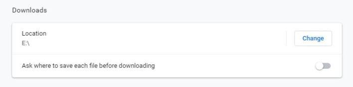Downloads location chrome
