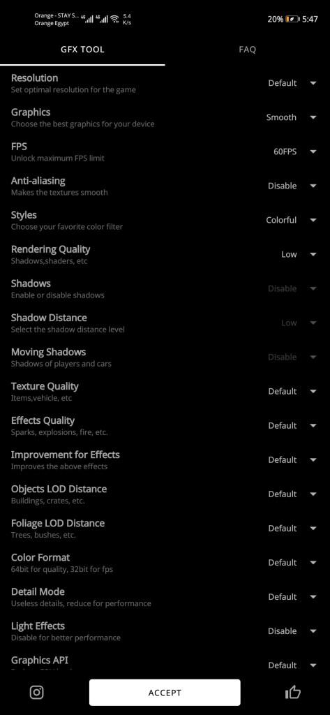 ضبط إعدادات أداة GFX Tool للعبة ببجي