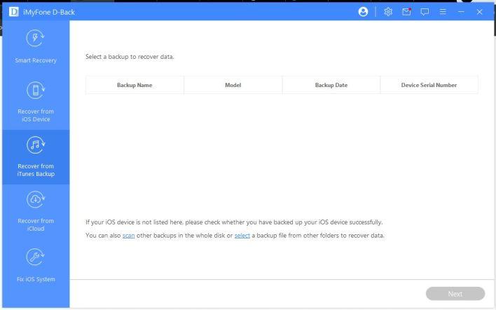 استعادة البيانات من نسخة iTunes الاحتياطية
