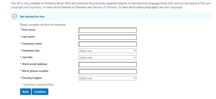 Select your experience Windows Server 2022 download form