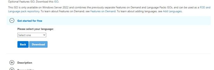 Select your experience Windows Server 2022 download language selection