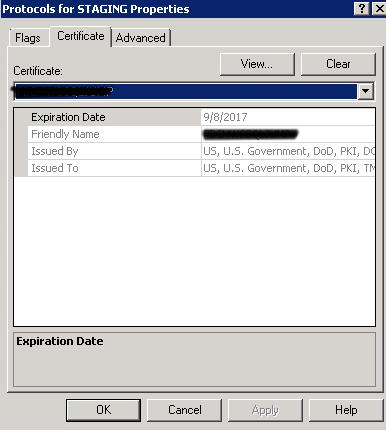V-40907 SQL Config Manager Certificate