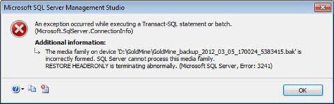 Error 3241 SQL Server