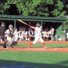 Josh Gardiner hitting a double