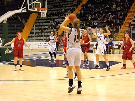 Caitlin Gannon's three point shot gets her team close