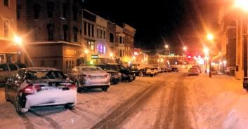 Main Street on Monday evening. Photo by Tim Becker.