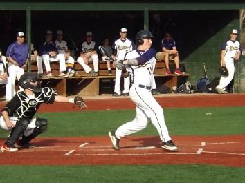 Kyle Sherlock smacks a double to right field