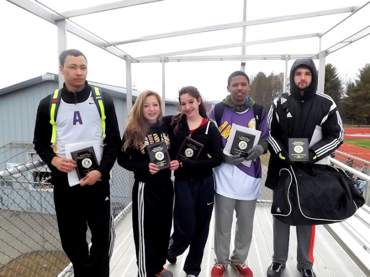 Meet award winners Izaiah Brown and Omari Sturdivant from Amsterdam, Celina Onzo and Jake Coveney of Broadalbin-Perth, and Emma Rhodes of Fonda-Fultonville. Missing is Sierra Fancher of Gloversville.