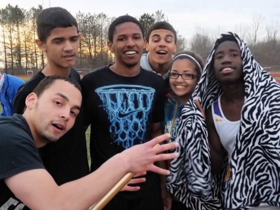 Omari Sturdivant with teammates