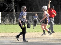 Shortstop Natalie Vogel holds on to last out