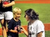 """Kelsey Dorado helps Jordan Goebel sing """"Take Me Out to the Ballgame"""""""