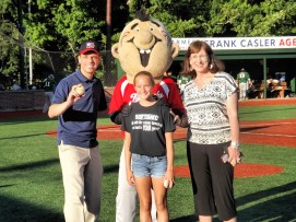 Mayor Thane and Congressman Santabarbara were on hand to throw out first pitches. Mayor Thane had some help from Emma Goebel