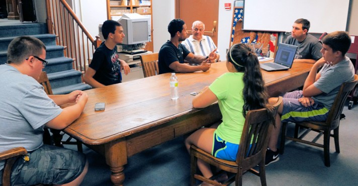 Sullivan Fitz-James, Phillip Tambasco, John Sumpter, Rich Leggiero, Paige Bertuch, Michael Rich, Michael Machold. Photo by Tim Becker.