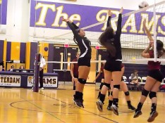 Giulianna Pritchard an Alanna Kaminski skying for a block