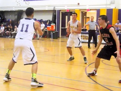 Matt Fedullo passing guarded by #11 Joe Girard III