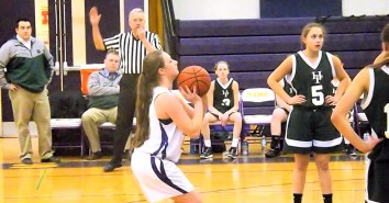 Junior Varsity player Taylor Flint at the line