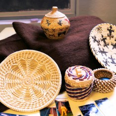 Examples of Native American crafts from Heacock's collection that will be on display at the center. Photo by Tim Becker.