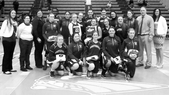 The 2015-2016 Girls Varsity Basketball Team. Photo by Scott Mulford.